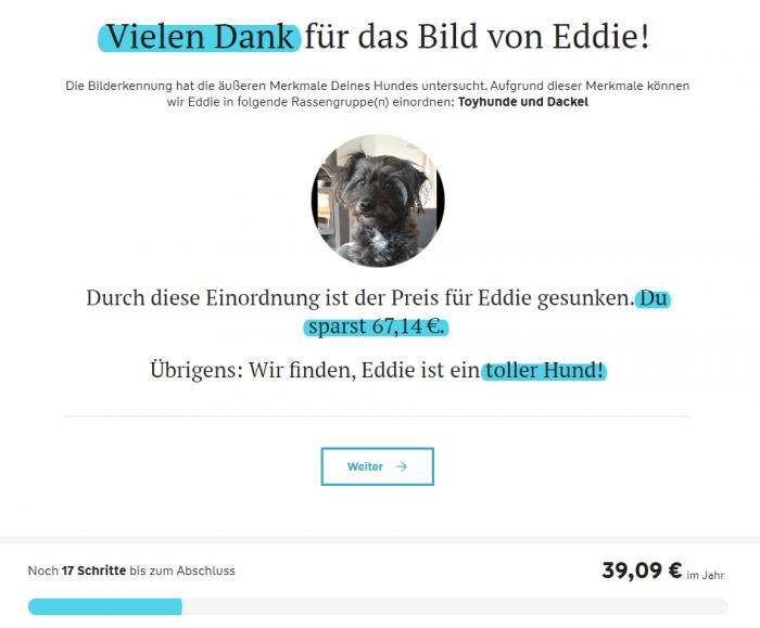 Darstellung der Hundebild-Erkennung auf der Adam Riese Webseite