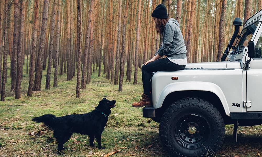 Frau sitzt auf der Motorhaube eines Geländewagen, Hund steht vor dem Auto